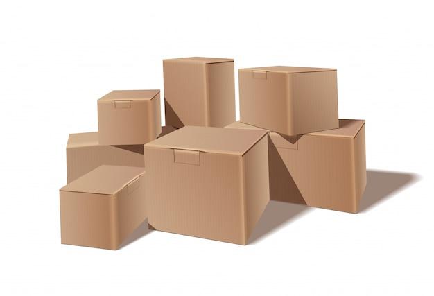 積み重ねられた密封商品の段ボール箱の山。配送、貨物、物流、輸送倉庫保管のコンセプト。