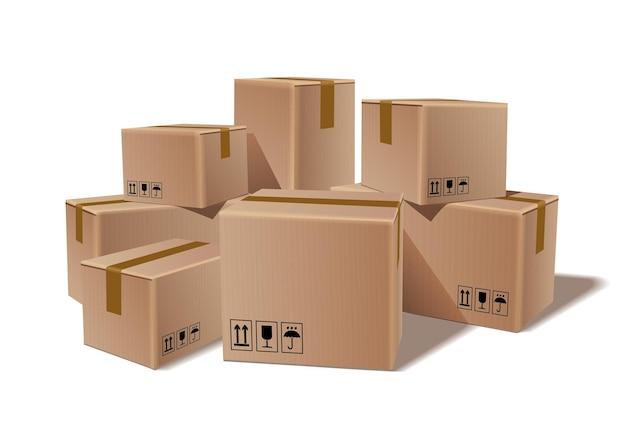 積み重ねられた密封された商品の段ボール箱の山 Premiumベクター