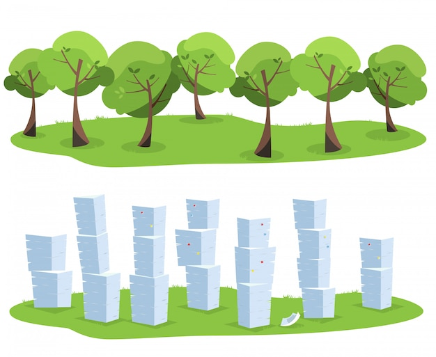Pile of office documents as tree waste isolated on white background. trees vs paper piles. flat   illustration.