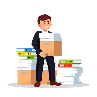 Pile of paper, busy businessman with stack of documents in carton, cardboard box, folder.
