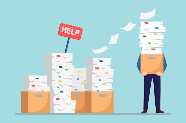 Pile of paper, busy businessman with stack of documents in carton, cardboard box, help sign. paperwork. bureaucracy . stressed employee.