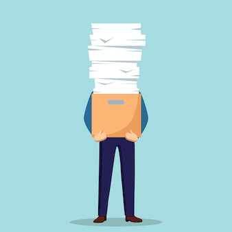 Pile of paper, busy businessman with stack of documents in carton, cardboard box. paperwork. bureaucracy concept. stressed employee.