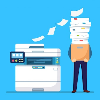 Pile of paper, busy businessman with stack of documents in carton, cardboard box. paperwork with printer, office multifunction machine. bureaucracy concept. stressed employee.  cartoon