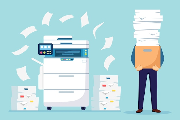 Pile of paper, busy businessman with stack of documents in carton, cardboard box. paperwork with printer, office multifunction machine. bureaucracy concept. stressed employee.