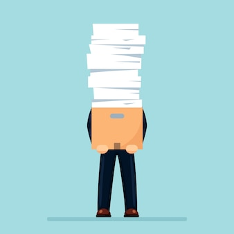 Pile of paper, busy businessman with stack of documents in carton, cardboard box.