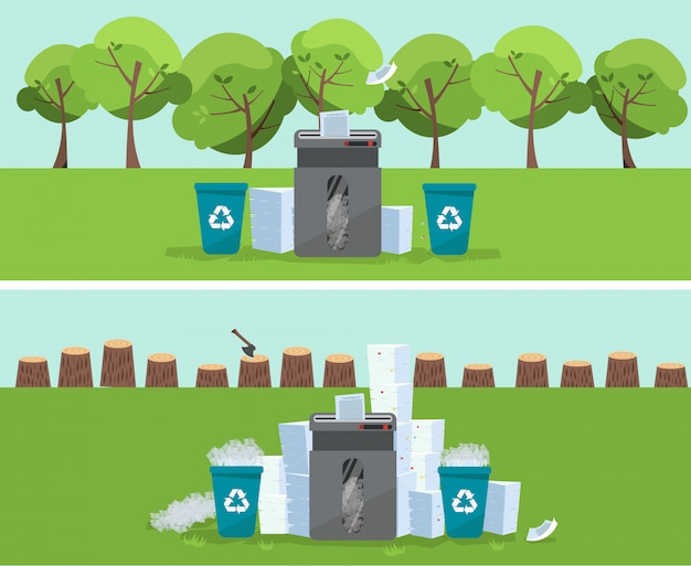 A pile of paper and documents stands above big floor shredder in front on green trees and stumps. many paperwork concept. huge stacks of used paper and plastic recycle bins. flat   illustration.