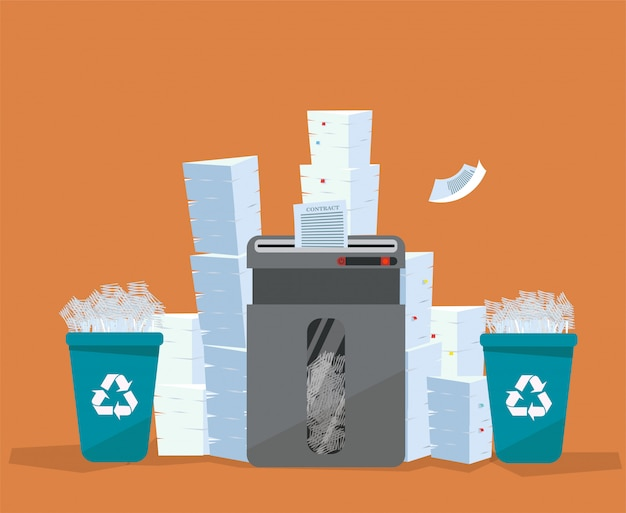 A pile of paper and documents stands above big floor shredder. . many paperwork concept. huge stacks of used paper and plastic recycle bins full of scraps of paper. flat cartoon   illustration.