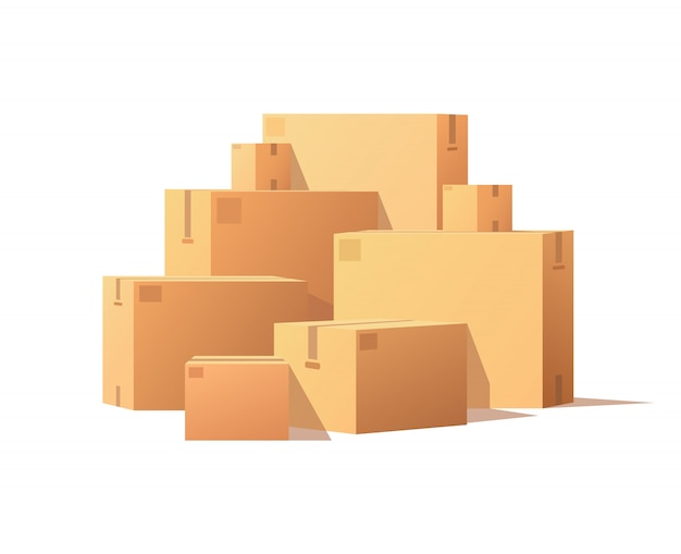 Pile parcel cardboard boxes stacked sealed goods