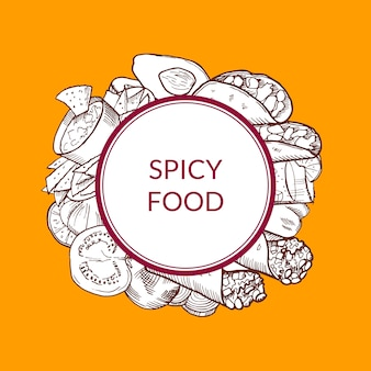 Pile of sketched mexican food elements under circle with place for text
