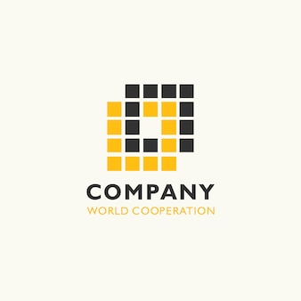 A pile square building logo