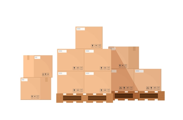 Pile or stack of cardboard or carton boxes on wooden pallet isolated