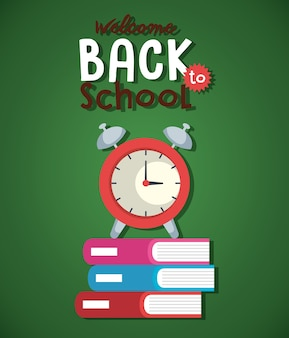 Pile textbook and alarm clock back to school