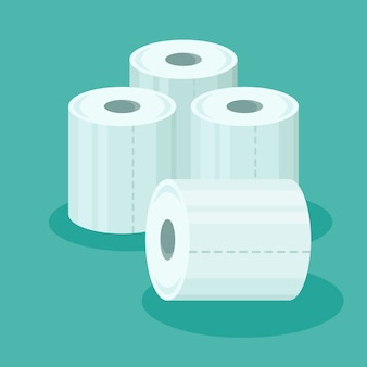 Pile of toilet paper rolls in flat style.