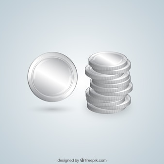 Piled silver coins