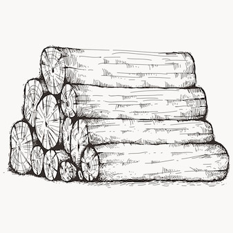 Piled up log wood sketch