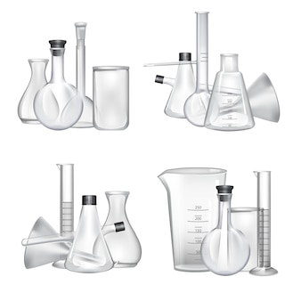 Piles of chemical laboratory glass tubes set. glass tube and laboratory experiment illustration