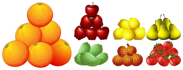 Piles of different kinds of fruits illustration