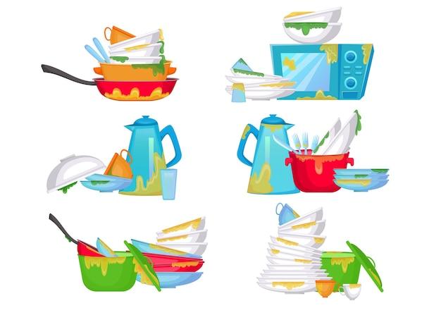 Set di illustrazioni di pile di piatti sporchi