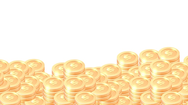 Piles of gold coins cartoon  frame or border