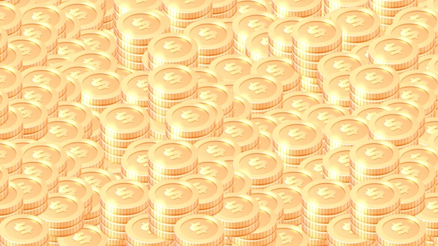 Piles of gold coins cartoon vector background