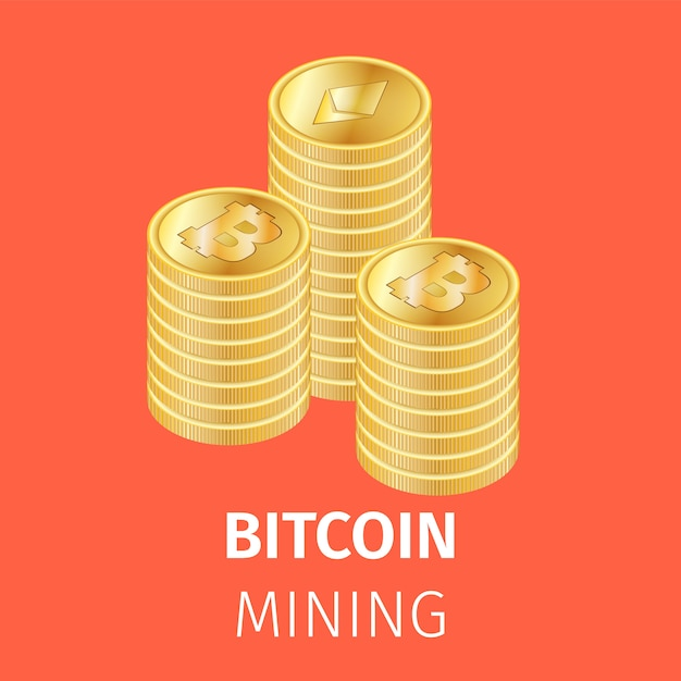 Piles of golden bitcoin coins