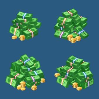 Mucchi di soldi contanti monete e mazzi di banconote