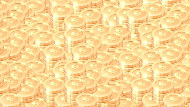 Груды золотых монет мультяшный векторный фон