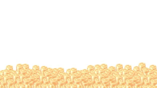 Груды золотых монет мультфильм векторной рамки или границы