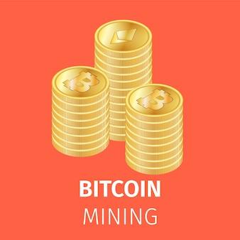 Груды золотых монет биткойн
