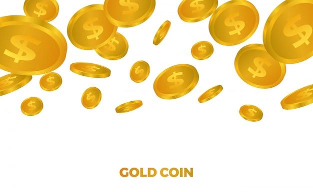 光沢のある多くの3 dゴールデンドルお金イラストの山