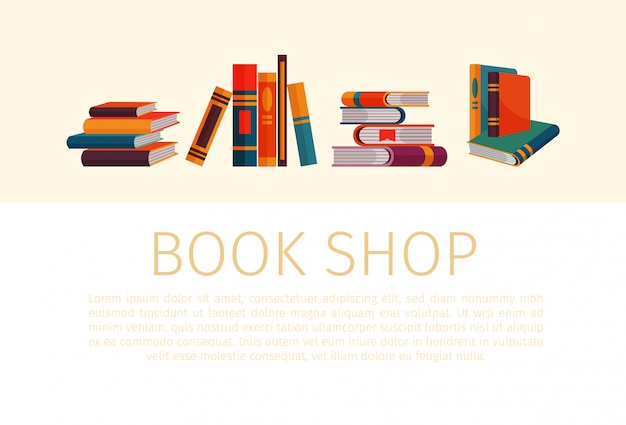 Piles and stacks of books for book store or shop in cartoon style. stacks of books with text template