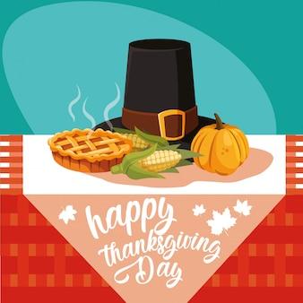 テーブルに設定されたアイコンと感謝祭の巡礼者の帽子