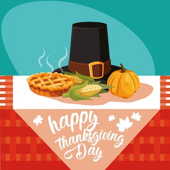 Pilgrim hat of thanksgiving day with icon set in table