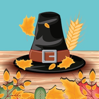 Pilgrim hat of thanksgiving day with leafs
