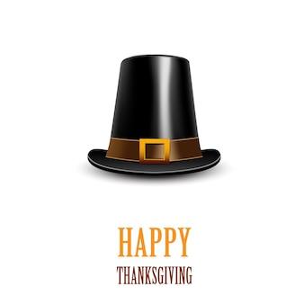 Pilgrim hat on a white background. thanksgiving symbol.