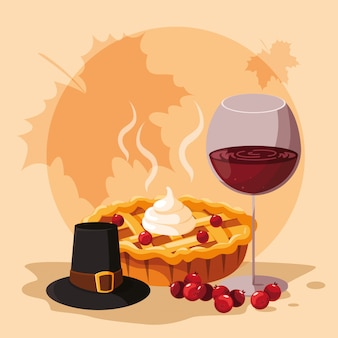Pilgrim hat with pie and cup wine