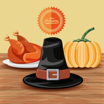Pilgrim hat with turkey and pumpkin of thanksgiving day