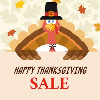 Pilgrim turkey bird cartoon mascot character holding a happy thanksgiving sale sign