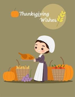 Женщина-пилигрим с индейкой и фруктами на праздник благодарения