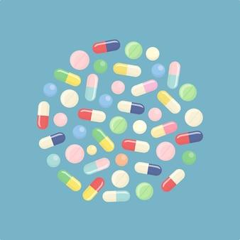 Таблетки и таблетки, медицина, изолированные на фоне.