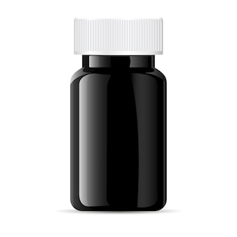 Pill bottle. black medical glass plastic container