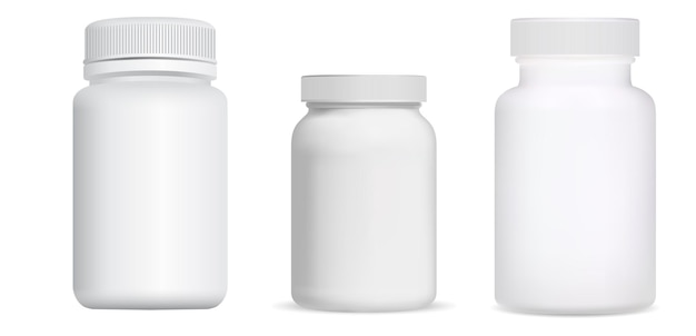 Pill bottle. vitamin package blank, supplement jar. medical capsule container, tablet drug can, pharmaceutical product closeup. clean pharmacy product design, medication cure antibiotic drugs