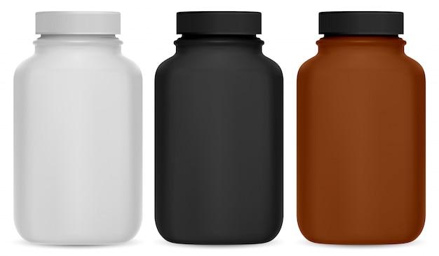 Бутылка для таблеток. пакет витаминных добавок 3d