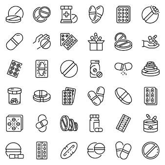 Pill icons set