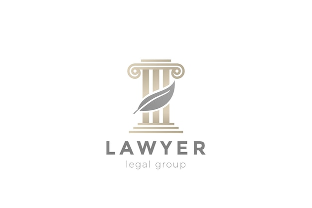 Pillar and feather logo for lawyer advocate legal company