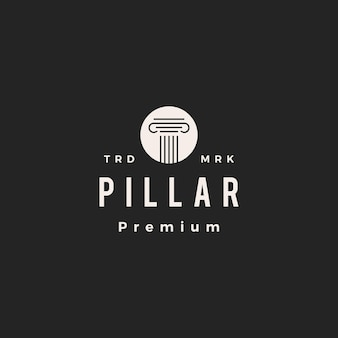 Pillar law hipster vintage logo icon illustration