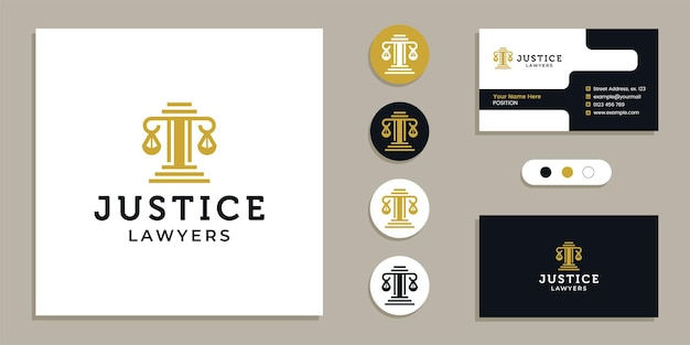 Pillar of law, justice logo and business card design template inspiration
