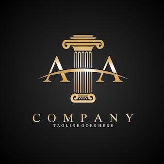 Pillar letter aa law legal logo design