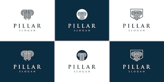Коллекция логотипов столба для адвокатской компании с концепцией линии
