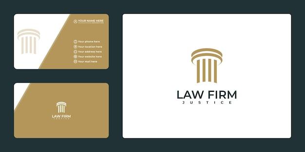 Значок логотипа столба. шаблон логотипа адвокатского бюро и визитная карточка